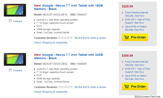 Pre-orders for the Nexus 7 2nd generation at Best Buy USA (Screenshot Credit: Jordan's Tech Stop)