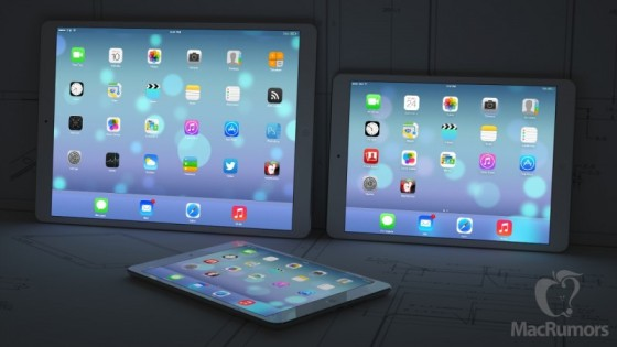 A Mockup of the iPad Pro next to the current iPad lineup. Image Credit: MacRumors