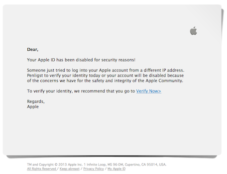 An example of the Apple phishing email going around. Image Credit: TUAW
